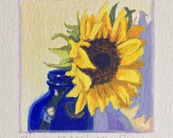 Original Gouache Sunflower Painting