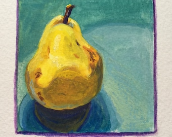Original Handpainted Colorful Still Life Pear Gouache Painting