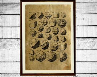 Platonic solids print, sacred geometry print, Plato poster, sacred print, occult antique metatron cube print merkaba aged paper