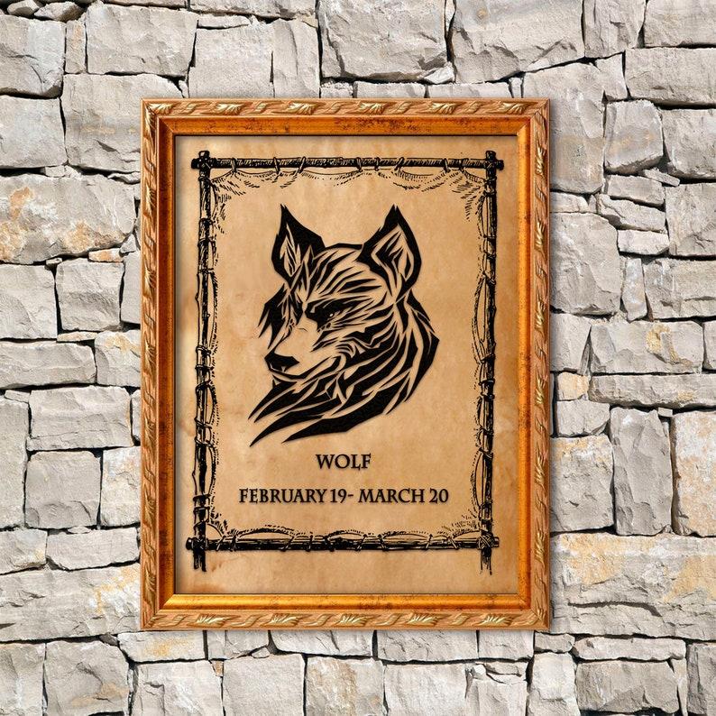 Wolf totem, Native american wall decor, Spirit animal, Tribal print, Zodiac  pergament, symbolic WOLF print, February - march birthday