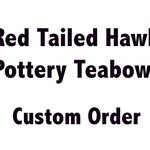 Special!!! Decorative Red Tailed Hawk Tea Bowl, ***Special Offer***, Dark Red on White background