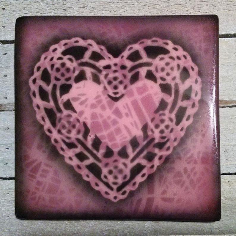 Hand Painted Tile Native American Pottery by Raymond Ventura Blue Pottery Heart Tile