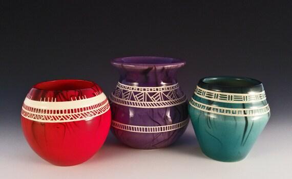 Chumash Vases Native American Pottery Vase Set Of 3 Etsy