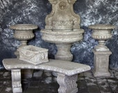 Palermo Wall Fountain with Classic Bases and Italian Urns with Curved Bench Package Cement Water Feature Concrete Garden Fountain Cast Stone