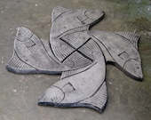 Fish Step Stones Set of four Concrete Heavy duty Cast Stone Step Stones Figurines 100 Concrete