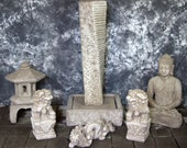 Rustic Twist Sphere Fountain with Japanese Pagoda and Meditating Buddha Package Cement Water Feature Concrete Garden Fountain Art Cast Stone