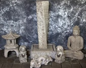 Rustic Twist Fountain with Oriental Pagoda and Meditating Buddha Package Cement Water Feature Concrete Garden Fountain Art Cast Stone Fuente