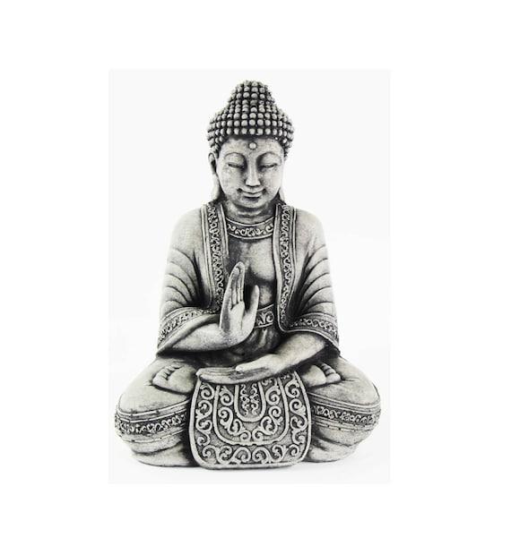 Cement Meditating Sitting Buddha Garden Statue Concrete Asian Etsy