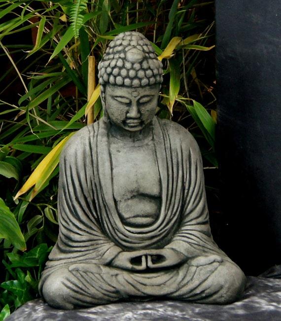 Meditating Sitting Buddha Garden Statue Concrete Asian Statue Etsy