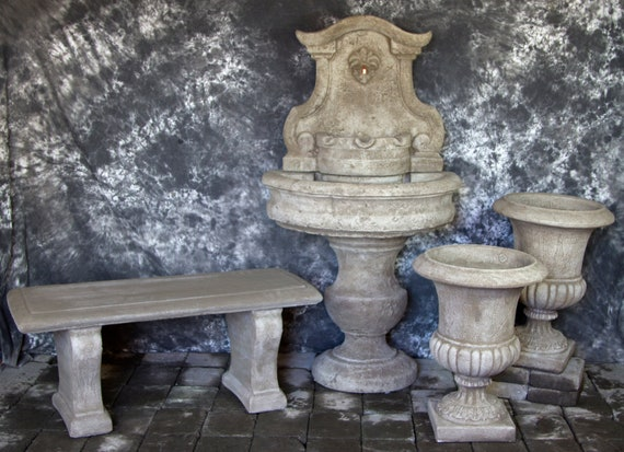 Palermo Wall Fountain With Italian Palazzo Urns And Bench Etsy