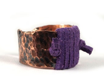 Patinated copper ring with Amethyst gift for her gift for mom perfect present unique artisan handcrafted jewelry wire wrapped gift for him
