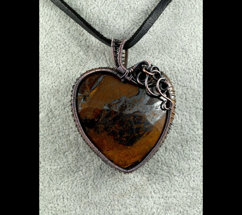 artisan handcrafted Oxidized copper pendant with Iron Tiger/'s Eye gift for her gift for mom perfect present wire wrapped heart handmade