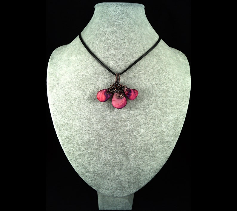 gift for mom present handcrafted handmade Patinated copper necklace with pink Nacre shell gift for her gift for women