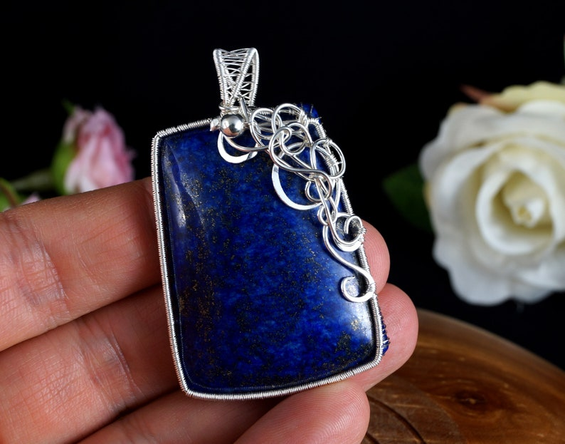 Lapis Lazuli pendant wrapped in Sterling Silver wire gift for her gift for mom perfect present unique artisan handcrafted jewelry for women