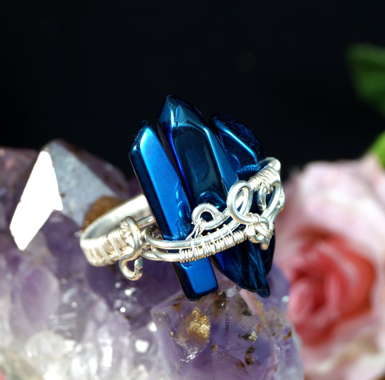 gift for her Sterling Silver ring with Titanium Quartz unique artisan handcrafted jewelry gift for mom perfect present gift for him
