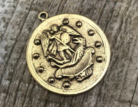 St Michael Catholic Medal Antique Gold Pendant Archangel Etsy