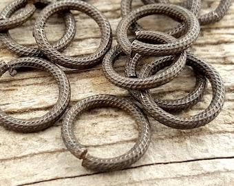 11mm Large Jump Rings, Textured Jump Ring, Rib Cable Jump Rings, Rustic Brown Antiqued Jump Rings, 11mm Brass Jump Rings, 10 rings, BR-3002