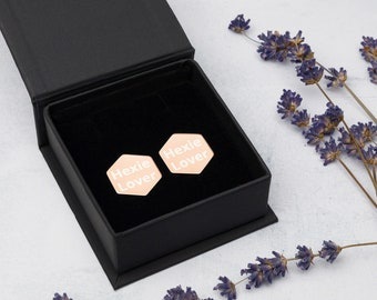 Sterling Silver Hexagon Stud Earrings for Quilters who Love Hexies - 2 Coatings Available: 18K Rose Gold or 24K Gold