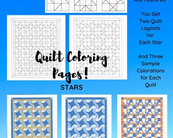 Quilt Coloring Pages, Star Quilts, Coloring Pages, Quilting Fun, Instant Download, Adult Coloring, PDF, Printable, Digital, Drawing