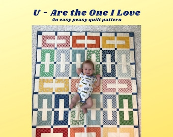 U - Are The One, Quilt Pattern, Jelly Roll Quilt, Instant Download, PDF, Easy Quilt, Patchwork Quilt, Scrap Quilt, Easy Peasy Quilt