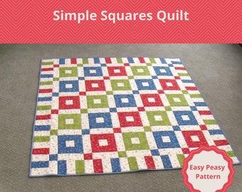 Simple Squares Quilt Pattern Digital Download PDF