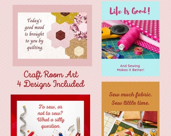 Craft Room Art, Quilt Humor, Gift for Quilters, Craft Room Wall Decor, Sewing Room Art, Sewing Room Sign, Quilt Quips