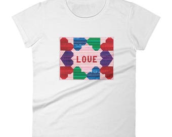 Short Sleeve T-Shirt, Love, T-Shirts with Hearts, Women's Sizes S-2XL, 100% Cotton T-shirt, T-Shirts with Sayings, Gift for Quilters