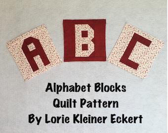 Alphabet Blocks Quilt Pattern, Instant Download, Quilt Pattern, Personalized Quilts, Pieced Quilt, Quilt Alphabet, Pdf, Quilts With Words