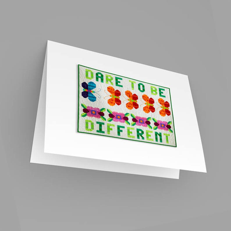 For Her Note Card Dare to be Different Motivational Note Card Blank Inside Quilts Patchwork Note Card Keepsake Card Quilt Stationery