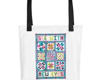 Tote Quote, See With New Eyes, Shoulder Bag, Travel Casual Bag, Motivational Tote Bag, Inspirational Tote Bag, Purses and Bags, Patchwork