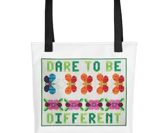 Tote Bag, Dare To Be Different, Funny Tote Bag, Quilting Tote Bag, Patchwork, Canvas Tote Bag, Inspirational Tote Bag, Motivational Tote Bag