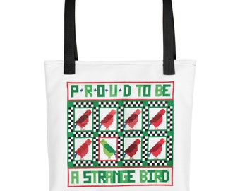Tote Quote, Proud To Be A Strange Bird, Funny Tote Bag, Shoulder Bag, Canvas Bag, Motivational Tote Bag, Inspirational Tote Bag, Quilts