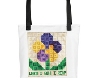 Quilting Tote Bag, When I Sow I Reap, Inspirational Tote Bag, Motivational Tote Bag, Women's Handbag, Purses and Bags, Travel Casual Bag