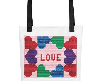 Quilting Tote Bag, Love, Heart Quilts, Patchwork, Tote Quote, Travel Accessories, Travel Bag, Gift for Women, Shoulder Bag, Quilter
