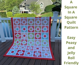 A Square In A Square, Quilt Pattern, Jelly Roll Quilt, Instant Download, Easy Quilt Pattern, Patchwork Quilt, Scrap Quilt, Easy Peasy, PDF