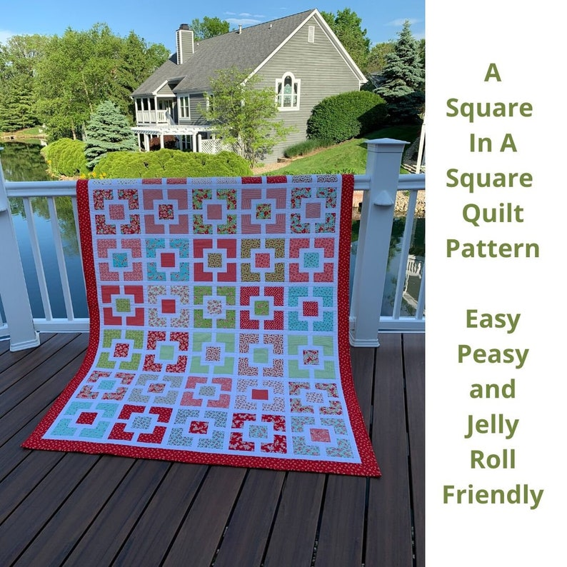 A Square In A Square Quilt Pattern Jelly Roll Quilt Instant image 0