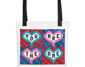 Quilting Tote Bag, You Are The One, Inspirational Tote Bag, Heart Tote Bag, Women's Handbag, Worldwide Shipping, Travel Casual Bag