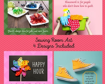 Sewing Room Art, Quilt Humor, Gift for Quilters, Quilt Room Wall Decor, Craft Room Art, Sewing Room Sign, Quilt Quips