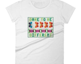 Funny Quilt T-Shirt, Dare To Be Different, T-Shirts with Sayings, Quilter's T-Shirt, Women's Sizes S-2X, Short Sleeve T-Shirt, For Her
