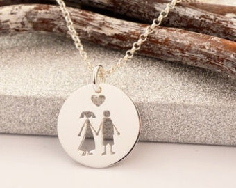 HANDMADE Sterling Silver ME & YOU Pendant, Love Pendant, Love Necklace, In Love Pendant, In Love Jewels, Wedding Charm, Engagement Necklace