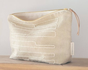 Boho modern makeup bag, embroidered Bohemian cosmetic bag, neutral toiletry bag, minimalist makeup bag, rustic zip pouch, boho gift women