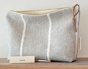 Unique makeup bag, neutral cosmetic bag, country rustic makeup bag, minimalist toiletry bag women, rustic farmhouse pouch, unique gift