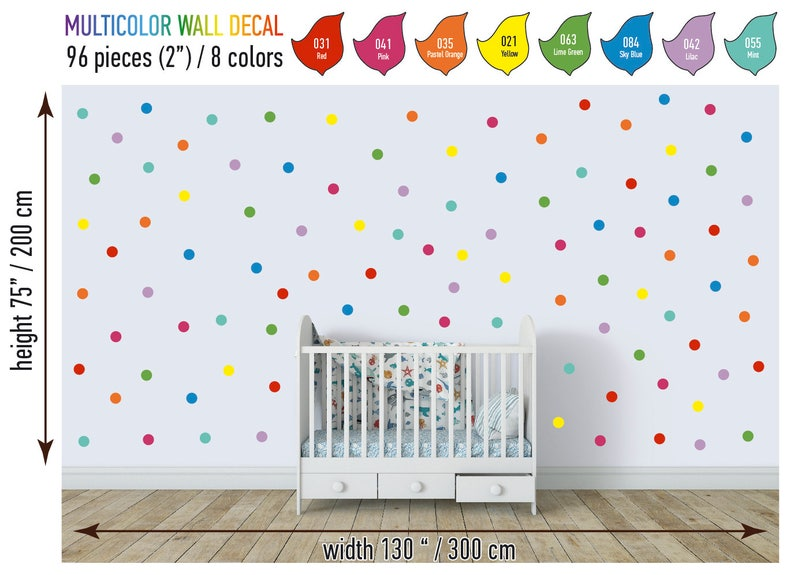 84 rainbow polka dot wall decal 2 peel and stick polka | etsy