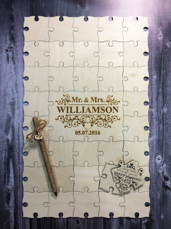 36 - 200 pcs  Custom Wedding Guest Book Puzzle + One pen / Any design of  the central part FREE - Guest Book Alternative- Wedding Puzzle