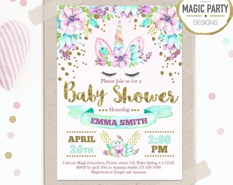 Unicorn Baby shower Invitation, Floral Baby shower invitation, Girl Baby Shower, Printable Invitation, rainbow Baby shower party