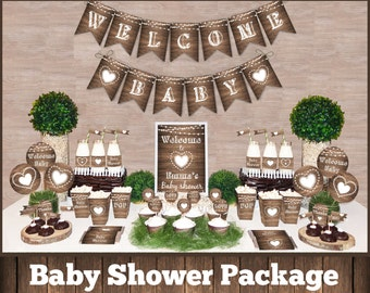 Rustic Baby Shower Decorations Etsy