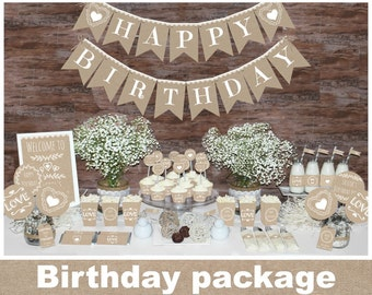 Rustic Birthday Decorations Printable First Party Decors Burlap Natural Package