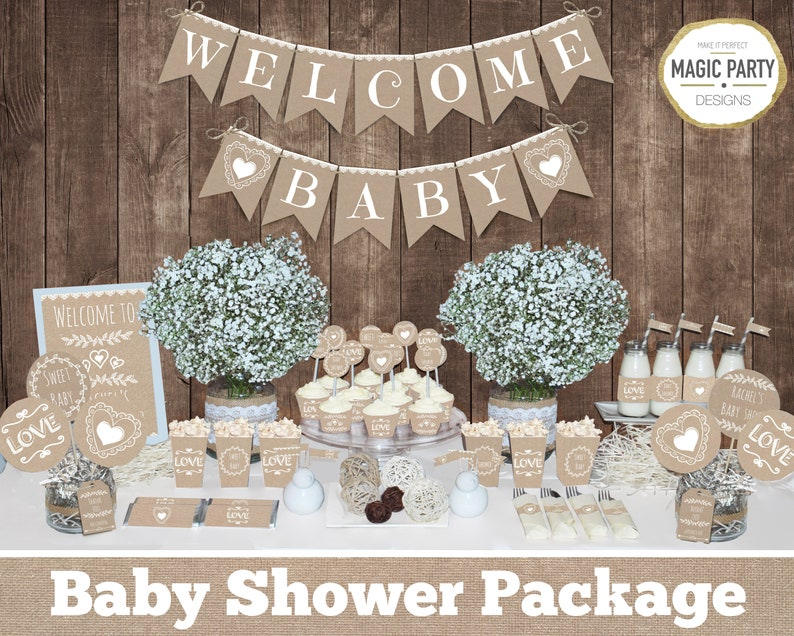Rustic Baby Shower Decorations Printable Gender Neutral Baby Shower Decorations Neutral Baby Shower Decors Burlap Baby Shower Decorations