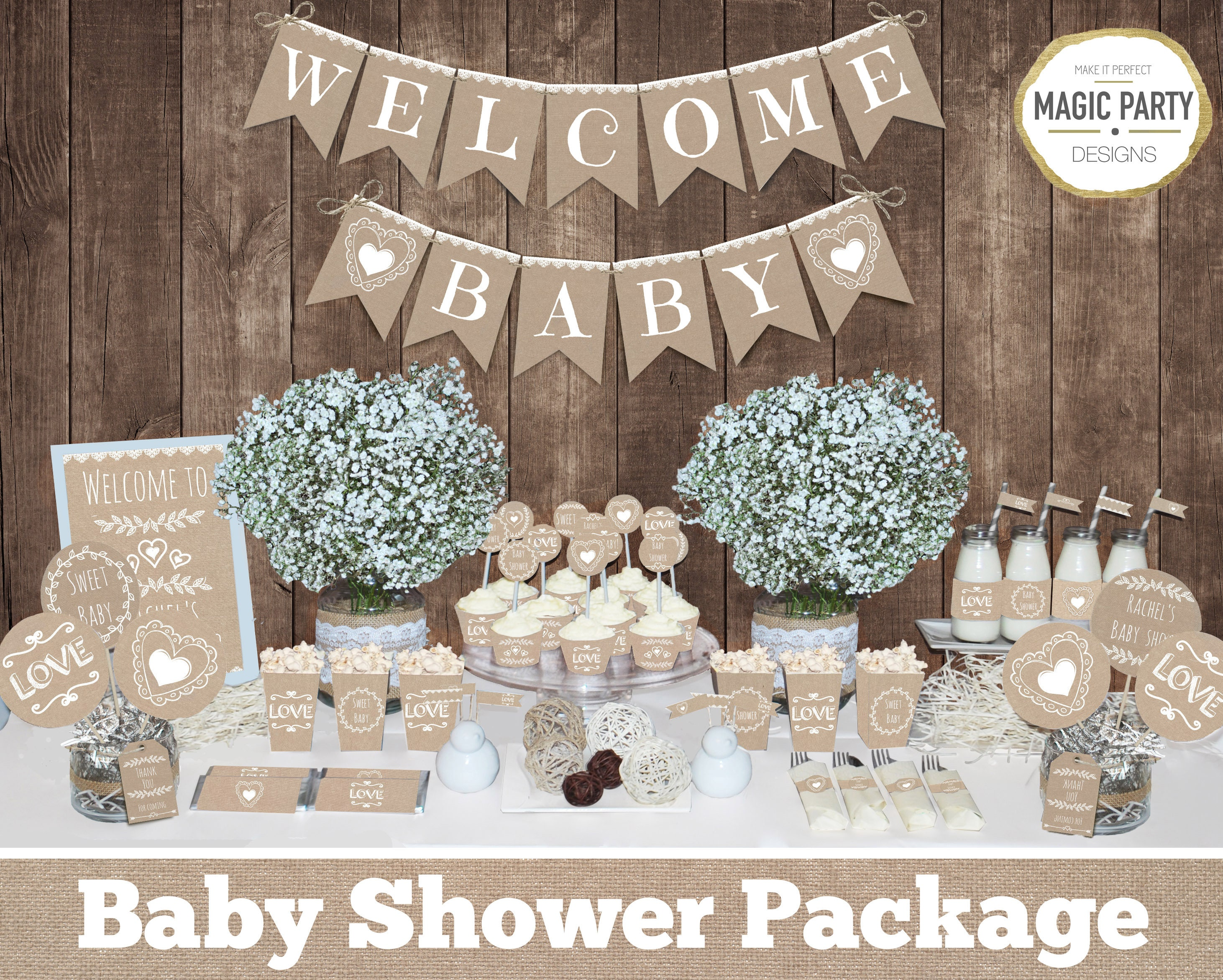 Rustic Baby Shower Decorations Printable Gender Neutral Baby Etsy