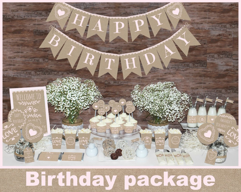 Rustic Birthday Decorations Printable First Party